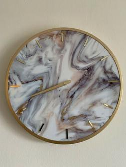 White & Gold Marble Wall Clock