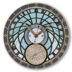 Wizard Tower Weather Station Large Wooden Wall Clock handcra