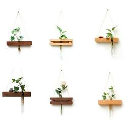 Wood Glass Test Tube Wall Vase Hydroponic Plant Flower Pot H