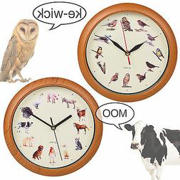 Yard Animal Print Wall Clock Musical Sounds Battery Operated